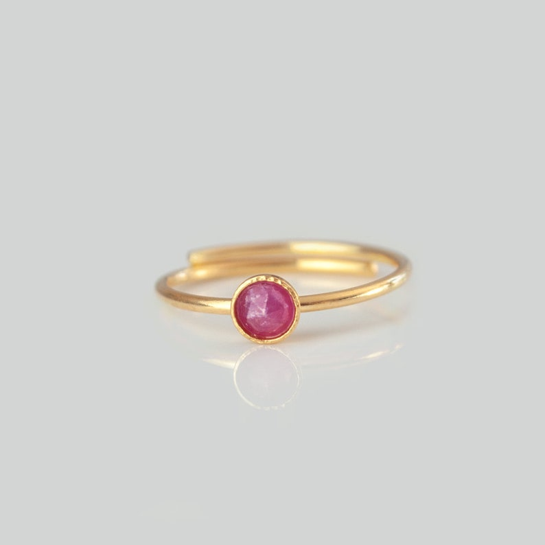 gold or rose gold size adjustable ring birthstone July 925 sterling silver Stacking ring with natural ruby lucky stone aries