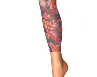 631bb2c91e539 Zesty multicolored pattern footless Tights, opaque floral printed tights,  Gift for her.