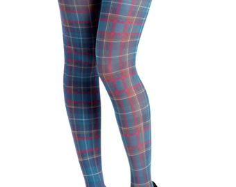 48accccd6 Jackson plaid tartan Printed Tights teal Malka-Chic