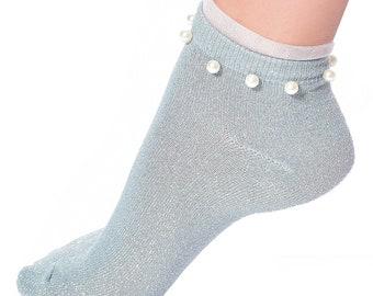 Women Transparent Crystal Fiber Crew Socks Leopard Glitter Metallic Yarn Hosiery