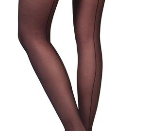0152a9936 Sheer seam tights black Malka Chic from small sizes to curvy ladies