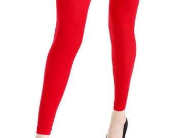 273605f1601fc Footless Tights red plus size 40 deniers Malka Chic