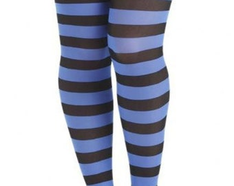 97674f140 Striped tights black and blue
