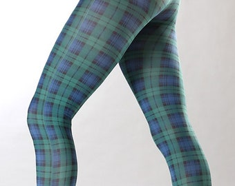 1ba3466d94a Opaque Tights Plaid Pattern Scottish green and blue Malka-Chic