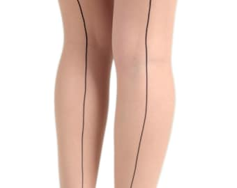 9ac7c5215 Sheer seam tights black Malka Chic from small sizes to curvy