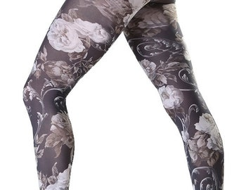 32c137d4d3d Floral patterned tights Twilight white Malka Chic