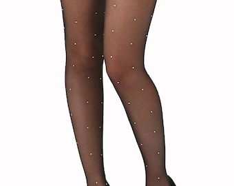 93557511e Sheer tights black 15 deniers with stones all over Malka Chic