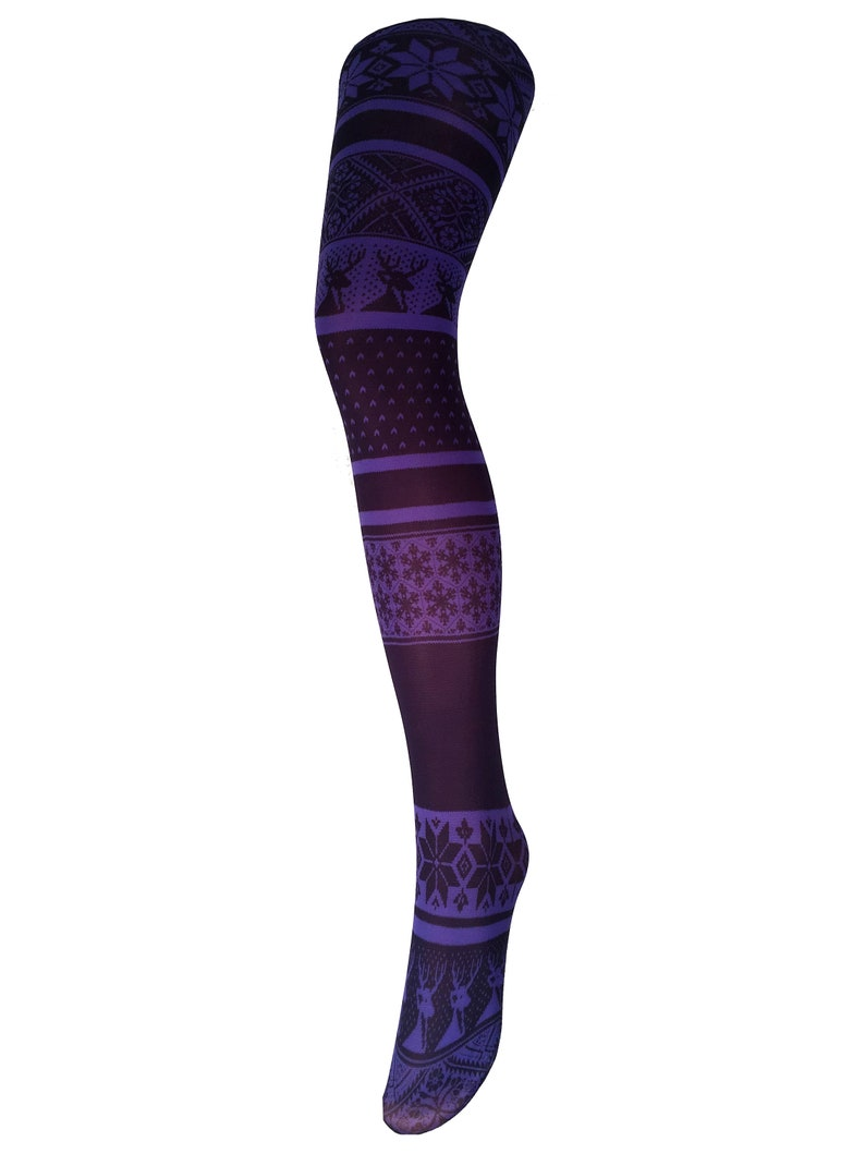 opaque printed tights Gift for her. Fairisle pattern Tights Purple