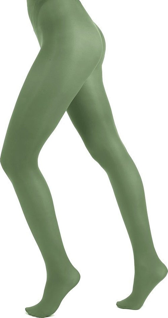 a299ce9cf Opaque tights green leaf Malka Chic from small sizes to curvy