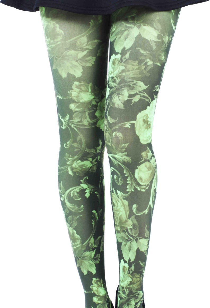 2d45c6a9217 Floral patterned tights Twilight green Malka Chic opaque