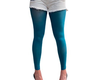 Dark teal Footless Tights for Women | Ankle Length Pantyhose | Plus Size Available