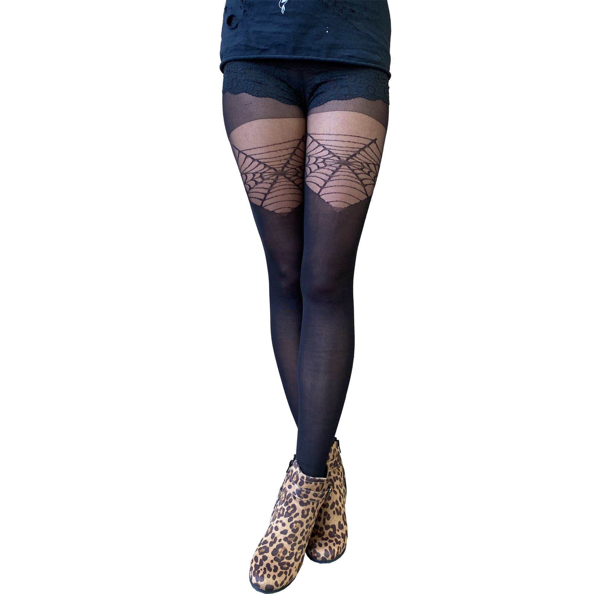 Tights Cobweb Over The Knee Women/'s Black