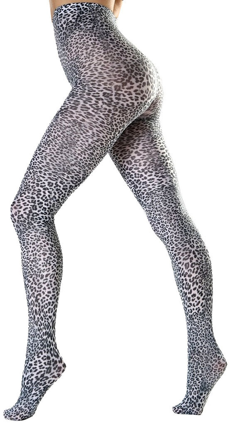df08e6104 Petite Leopard pattern Tights black and white Malka Chic