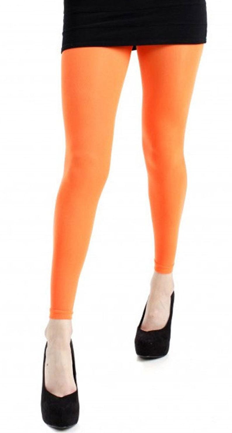 9ab08b3901775 Footless Tights orange plus size 40 deniers Malka Chic | Etsy