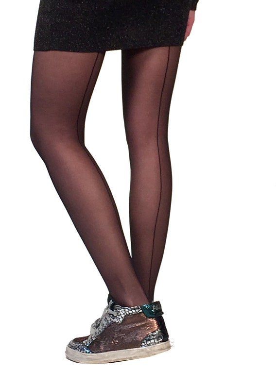 fa442e17d Sheer seam tights black Malka Chic from small sizes to curvy