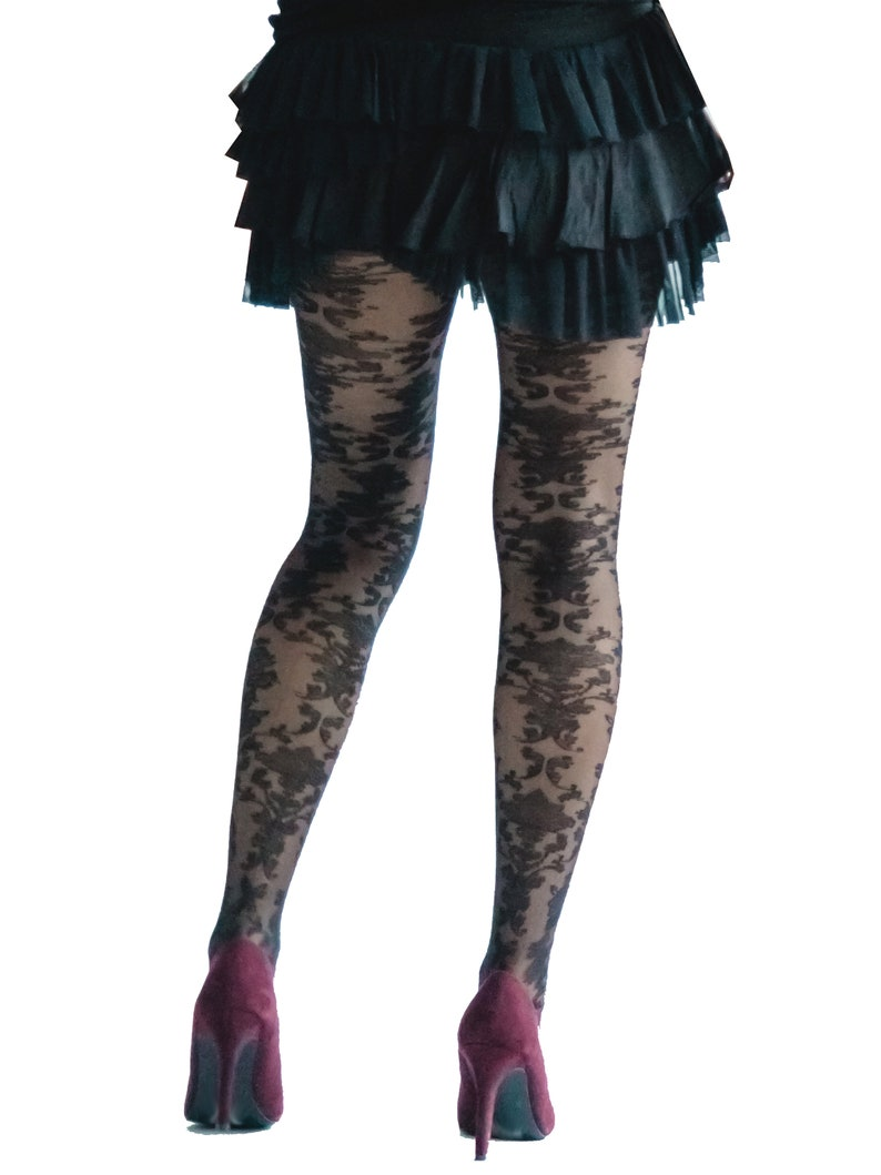 eac9e4c8f Baroque tulle Tights black Malka Chic