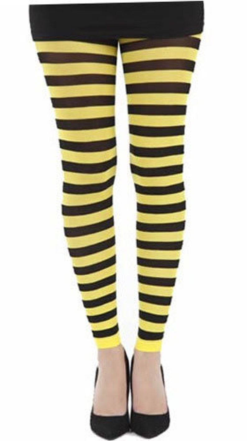 4aabe8ec18dd8 Footless Striped tights yellow Malka Chic In small/medium | Etsy