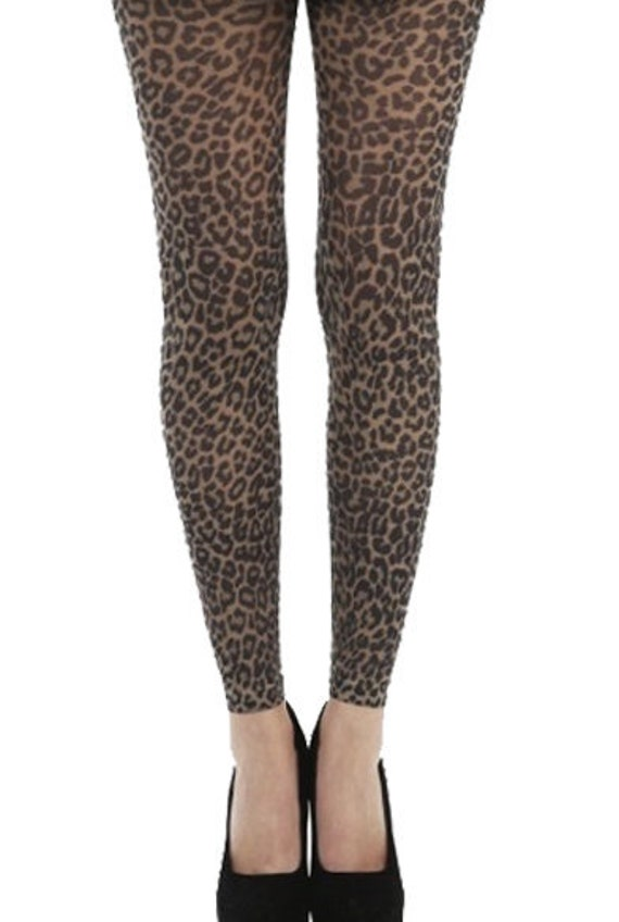 Fishnet Leopard Print Footless Tights