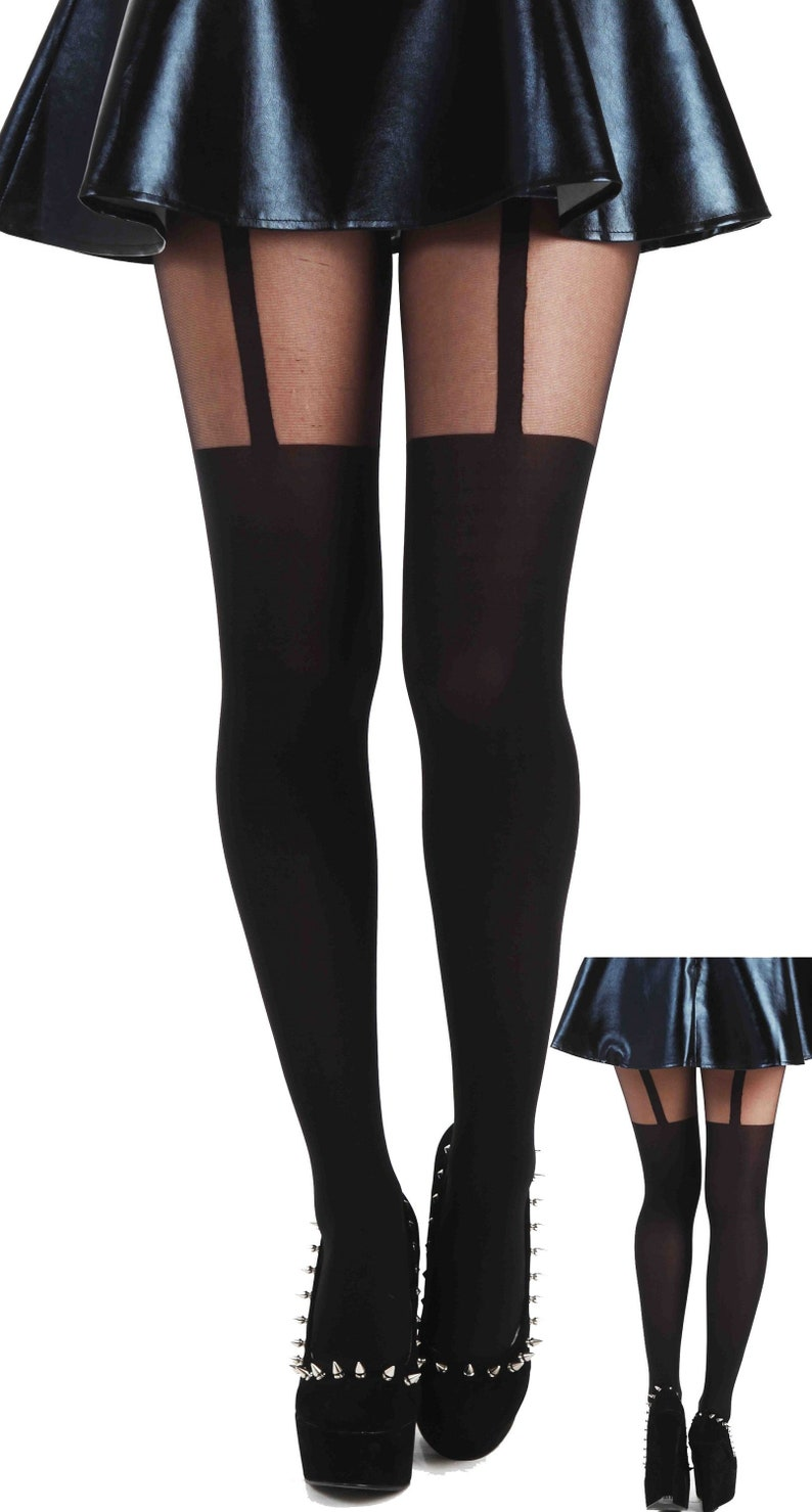 31276416a Plain Stripe Suspender Tights black Malka Chic