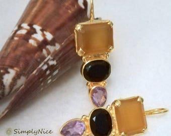 Onyx Amethyst Earrings