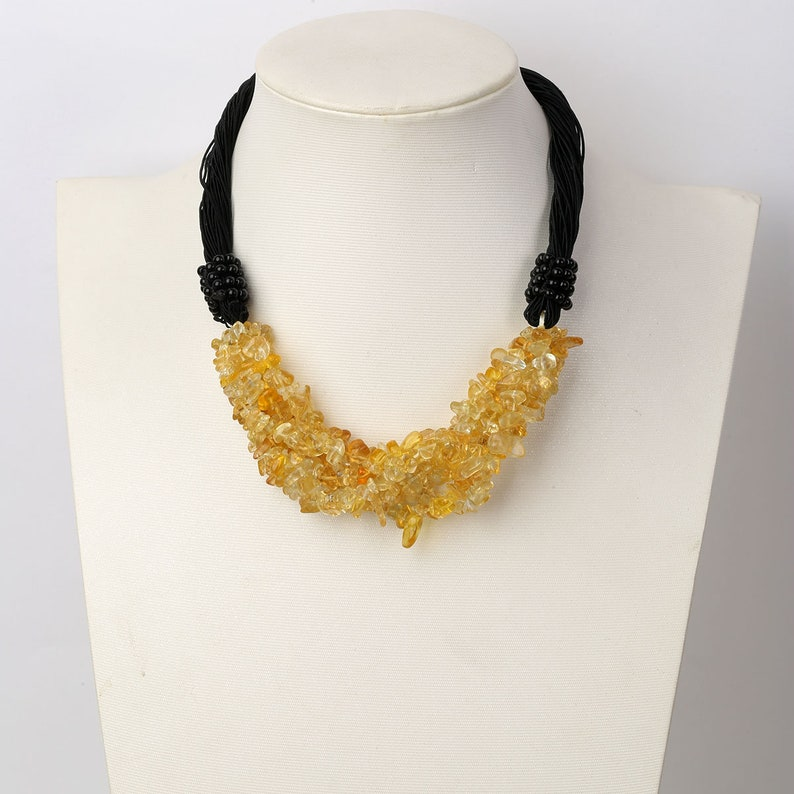 Citrine Natural Stone Natural Stone Necklace Cluster Necklace Dangle Earrings Necklace Sets Sterling Silver Earrings Gemstone Choker