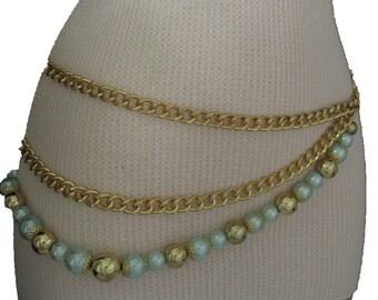 Nouvelle femmes chaîne épaisse en métal épais doré lien mode ceinture côté  vague 3 brins boule bleue charmes hanche taille haute taille S M L 0201e82abd5
