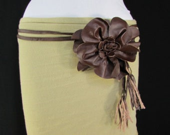 Fashion Stylish Women Pink Wide Elastic Belt Satin Flower /& Feathers S M L XL