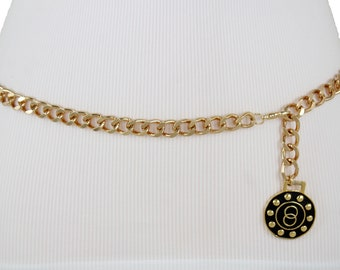 2a520275077 New Women Gold Metal Chunky Chain Link Fashion Belt Round Bling Dangle Coin  Style Charm Infinity Buckle Hip High Waist Size XS S M L XL XXL