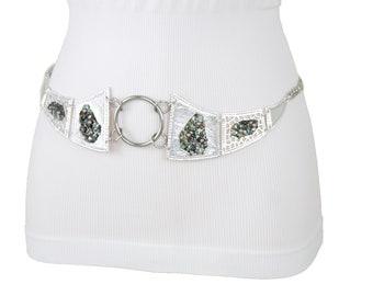 Nouveau femmes argent métal chaîne lien mode ceinture Artsy perles plaque  boucle Centre bague breloque hanche taille haute taille XS S M L XL XXL 8dc3e941b2a