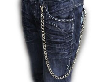 601b32a71e7950 New Silver Metal Chain Classy Strand Wallet Chunky Chain Thick Links Punk  Rocker Biker Fashion Accessory Keychain Men Women Trucker Style