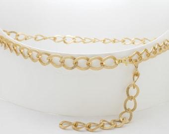 c672dcdac55 Nouveau femmes chaîne épaisse en métal épais doré texturé lien mode ceinture  Look fantaisie Style habillé hanche taille haute taille XS S M