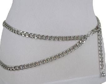TFJ Women Silver Metal Chain Skinny Fashion Belt Hip High Waist Face Mask Buckle Plus XL XXL