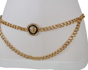 252bff79ff4 New Women Gold Metal Chain Link Fashion Belt 2 Strands Waves Lion Buckle  Round Charm Drop Hip High Waist Size XS S M L XL