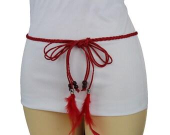 483562c56137 Nouvelle femme rouge en Faux cuir longues plumes franges gland charme mode  tissu cravate ceinture perles marron franges hanche taille haute tailles S  M L