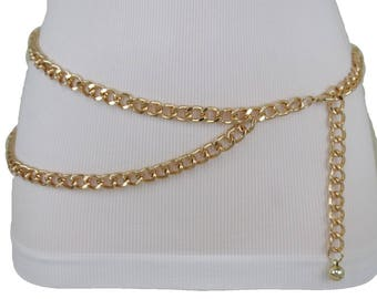 4c56923ff6a46 New Women Gold Thick Metal Chunky Chain Link Fashion Belt Side Wave 2  Strands Hip High Waist Size XS S M L XL XXL