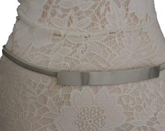 Women Fashion Silver Leopard Print Belt Hip Waist Elastic Black Waistband S M