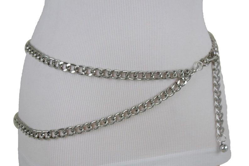 New Women Silver Metal Chain Fashion Belt Big Front Wave 2 Strands Style Skinny Waistband Hip High Waist Size XS S M L XL XXL