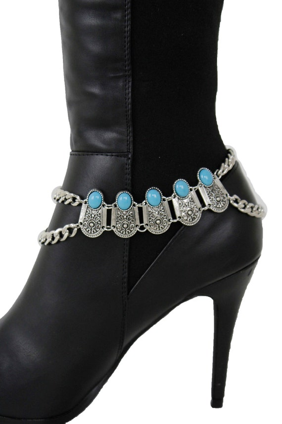 West Women Gold Boot Chain Anklet Bracelet Heel Shoe Rodeo Horses Charm Jewelry