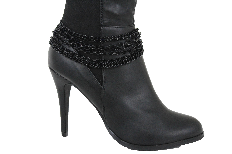Women Western Boot Bracelet Silver Metal Chain Heels Shoe Round Flower Charm Fun