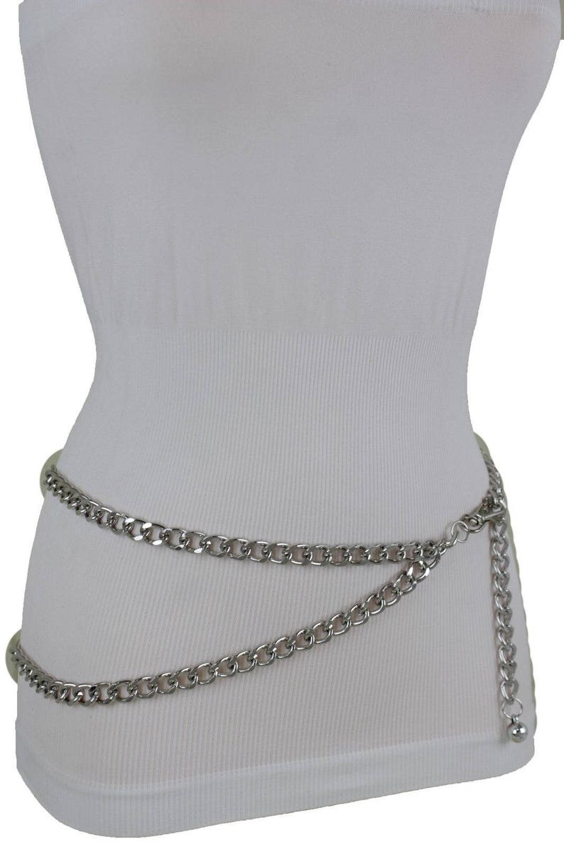 New Cute Look Women Silver Metal Chain Links Fancy Fashion Belt Skinny Waistband Hip High Waist Size XS S M L XL XXL