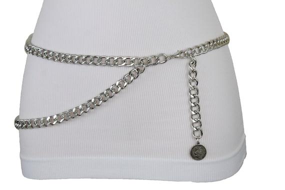 Women Skinny Band Hip High Waist Belt Silver Metal Chain Heart Buckle M L XL