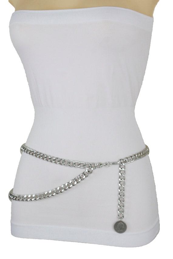 Chic Women Gold Metal Chain Link Wave Waist Hip Belt Lion Charm Coin Size M L XL