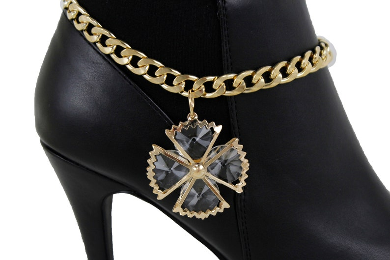 a82afe99896 Nouveau femmes botte métal or chaine Bracelet Look mode bijoux