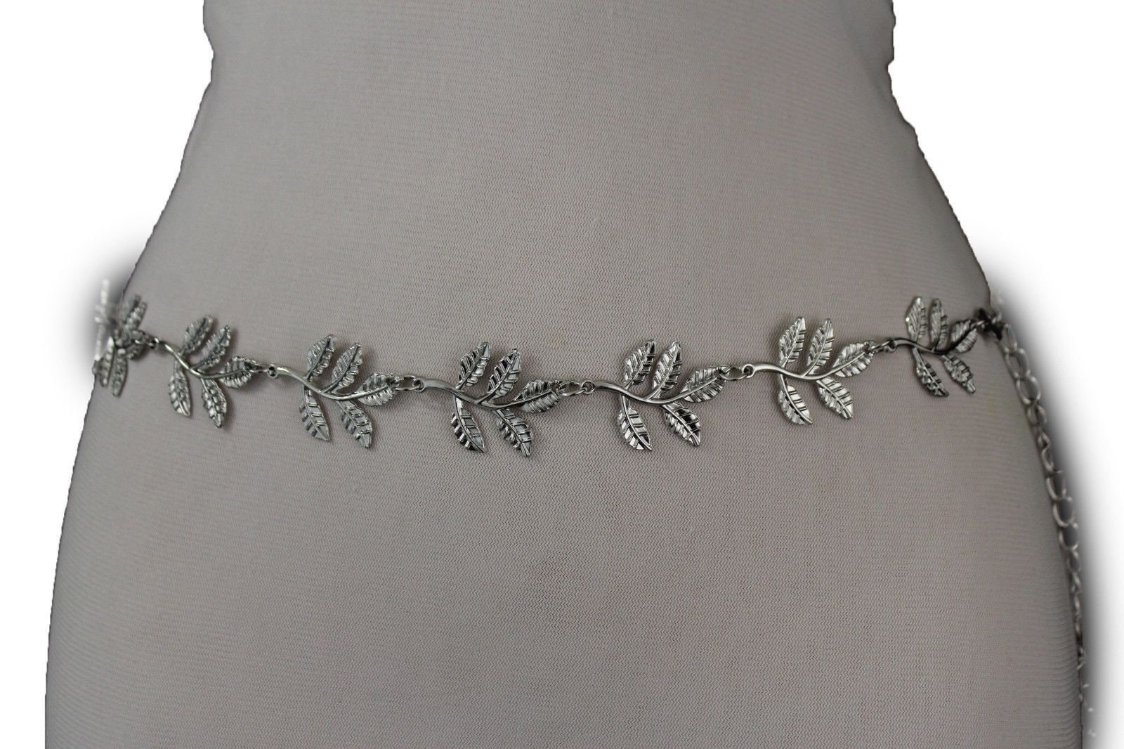 New Women High Waist Hip Silver Metal Chains Trendy Belt Leaf Charms Size S M L