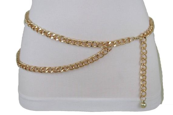 New Women Gold Thick Metal Chunky Chain Link Fashion Belt Side Wave 2 Strands Hip High Waist Size XS S M L XL XXL