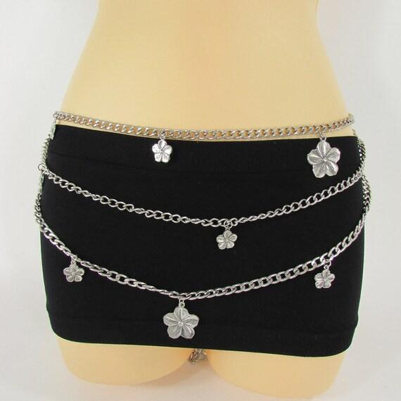 Women Silver Stretch Fabric Waistband Fashion Narrow Belt Gold Bling Buckle S M