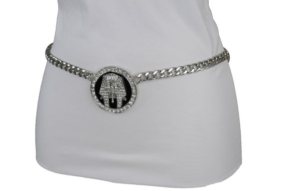 Women Silver Metal Chain Waistband Waist Hip Belt Lion Buckle Plus Size XL XXL