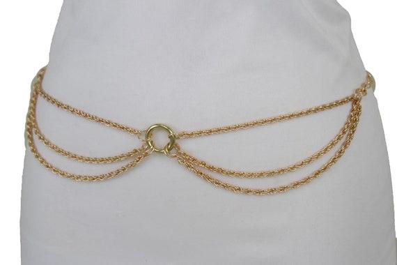Women Gold Metal Chains Fashion Belt Hip High Waist Drape Coin Charm Size