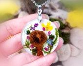 Cottagecore sunflower necklace Real mushroom necklace Forget me not pressed flower necklace