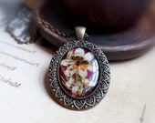 Dark academia necklace for girlfriend. Grandmacore jewelry. Real flower necklace for women